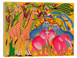 Tableau en bois  Groups of animals in the bush - Omary