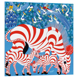 Tableau en PVC  Zebras in red - Mustapha