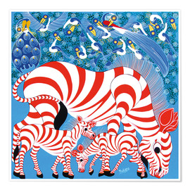 Poster  Zebras in red - Mustapha