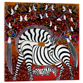 Tableau en verre acrylique  Zebra with a large flock of birds - Hassani