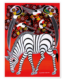 Poster  The zebra with bird couple - Chiwaya