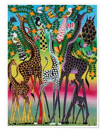 Poster  Giraffes in African colors - Maulana