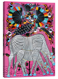Tableau sur toile  Zebra couple with magnificent flock of birds - Lewis