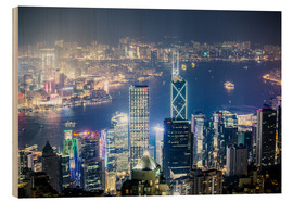 Tableau en bois  Hong Kong city and harbour at night - Matteo Colombo