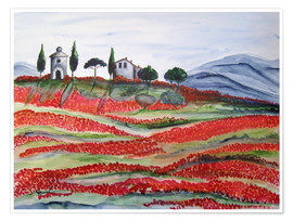 Poster Flowering/Blooming Tuscany (Val d'Orcia, Chapel of Vitaleta)