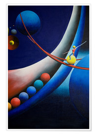 Poster Tightrope walk among planets