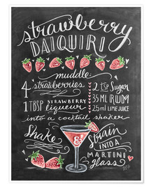 Poster  Recette du Strawberry Daiquiri (anglais) - Lily & Val