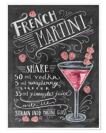 Poster  Recette du French Martini Raspberry (anglais) - Lily & Val