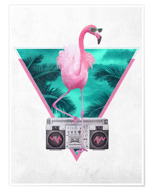 Poster  Flamant rose Miami - Robert Farkas