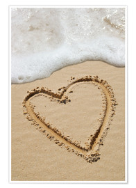 Poster  Heart drawn in sand - Tony Craddock