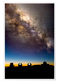 Poster  Mauna Kea telescopes and Milky Way - David Nunuk