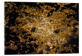 Tableau en verre acrylique  Paris de nuit, photo satellite - NASA