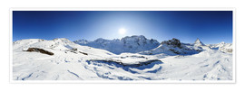 Poster 360 degree mountain panorama from Riffelberg above Zermatt with Monte Rosa and Matterhorn in Winter