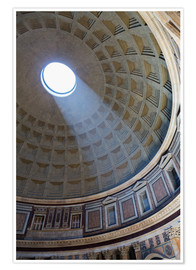 Poster  A shaft of light through the dome of the Pantheon, UNESCO World Heritage Site, Rome, Lazio, Italy, E - Martin Child