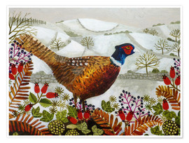 Poster  Pheasant and Snowy Hillside - Vanessa Bowman