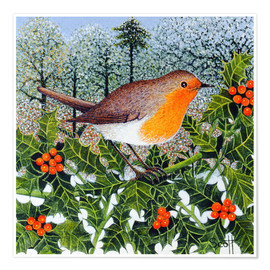Poster  Robin on the Beer Branch - Pat Scott