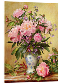Tableau en verre acrylique  Vase de pivoines et cloches de Canterbury - Albert Williams
