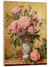 Tableau en bois  Vase de pivoines et cloches de Canterbury - Albert Williams