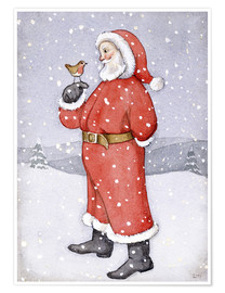 Poster  Father Christmas and a Robin - Lavinia Hamer