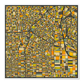 Poster  Los Angeles Map - Jazzberry Blue