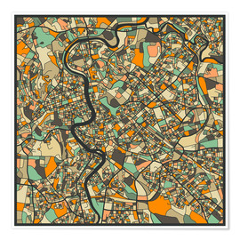 Poster  Rome Map - Jazzberry Blue
