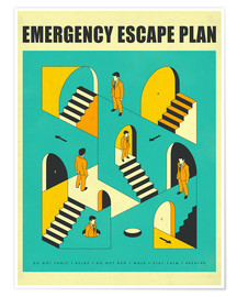 Poster  Emergency Escape Plan 1 - Jazzberry Blue