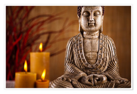 Poster Buddha statue with candles