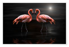 Poster  Flamingos at night - Heike Langenkamp