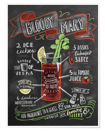Poster  Recette du Bloody Mary (anglais) - Lily & Val
