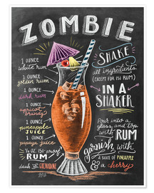 Poster  Recette du cocktail Zombie (anglais) - Lily & Val