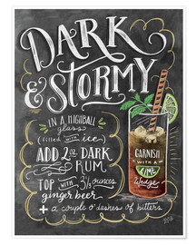 Poster  Recette du cocktail Dark & Stormy (anglais) - Lily & Val
