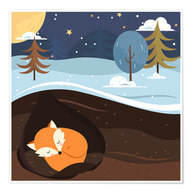 Poster  Renard en train de dormir - Kidz Collection