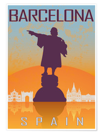Poster Barcelone - Christophe Colomb