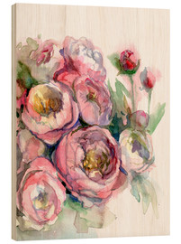 Tableau en bois  Pivoines - Verbrugge Watercolor