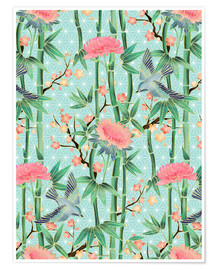 Poster  bamboo birds and blossoms on mint - Micklyn Le Feuvre