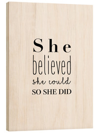 Tableau en bois  She believed - Finlay and Noa