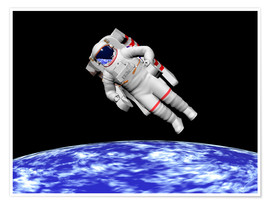 Poster  Astronaut floating in outer space above planet Earth. - Elena Duvernay