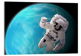 Tableau en verre acrylique  Artist's concept of an astronaut floating in outer space by a water covered planet. - Marc Ward