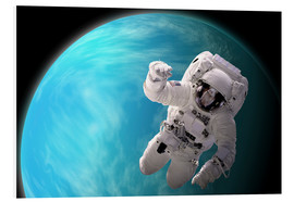 Tableau en PVC  Artist's concept of an astronaut floating in outer space by a water covered planet. - Marc Ward
