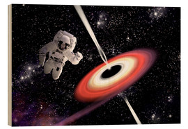 Tableau en bois  Artist's concept of an astronaut falling towards a black hole in outer space. - Marc Ward