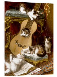 Tableau en PVC  Kittens at play with a guitar - Jules Le Roy