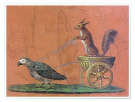 Poster  Parrot draws cars with squirrels