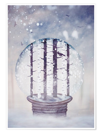 Poster Snowglobe with birch trees and raven