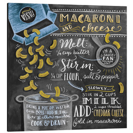 Tableau en aluminium  Recette Macaroni and Cheese (anglais) - Lily & Val