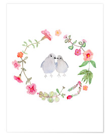 Poster  Wreath with love birds - Verbrugge Watercolor