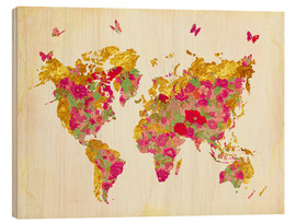 Tableau en bois  Summer World Map - Mandy Reinmuth