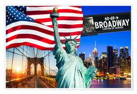 Poster New York City Photo Collage with Statue of Liberty