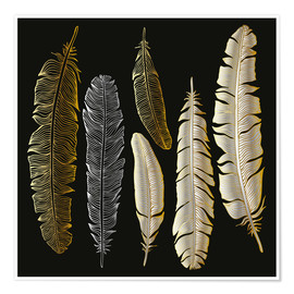 Poster  Feathers in Gold and Silver