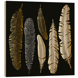 Tableau en bois  Feathers in Gold and Silver