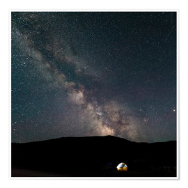 Poster Camping underneath milky way